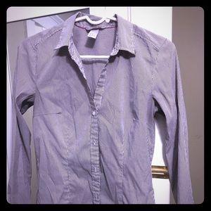 H&M micro stripe blouse